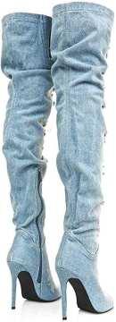 Brush Denim Peep Toe Ripped Boots