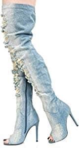 Brush Denim Peep Toe Ripped Boots3