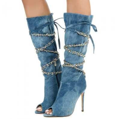 Denim Peep Toe Boots