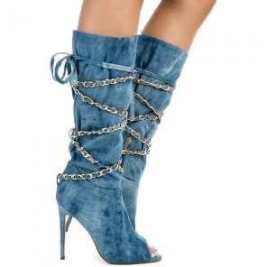 Denim Peep Toe Boots5