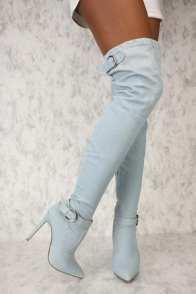 Denim Thigh High Boots2