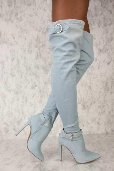 Denim Thigh High Boots3